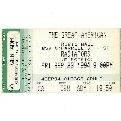 THE RADIATORS Concert Ticket Stub GAMH 9/23/94 SAN FRANCISCO CA NOLA RIVER RUN