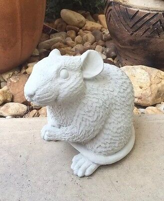 Rat Statue Concrete Memorial Gray Mouse Lawn Garden Decor Home Pet Art Gift