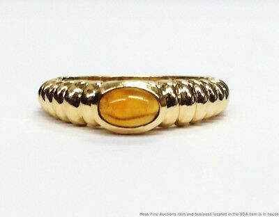 Vintage 14K Yellow Gold Citrine Cabochon Ladies Petite Band Ring Size 4.75