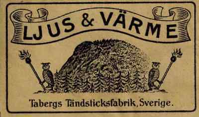 old matchbox label Sweden Tabergs TF 107-1
