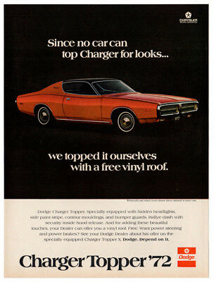 1972 DODGE Charger Topper Vintage Original Print AD - Red muscle car photo USA