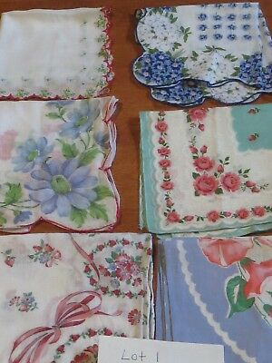 Vintage Collectible Lot Of 6 Floral Women's Handkerchiefs~Sizes Vary Lot 1