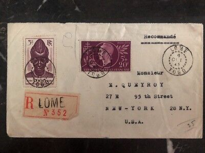 1945 Lome Togo France Registered Cover To New York USA