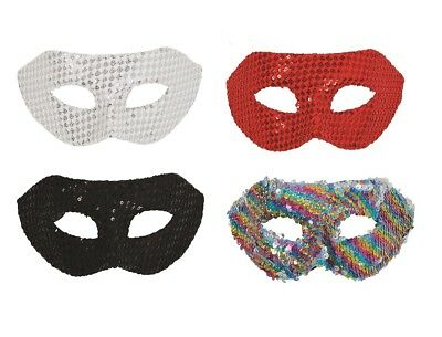 23716c5fbd71 Adult Masquerade White   Red   Black   Multi Sequin Eye Mask Fancy Dress