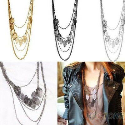 1pc Women Multi-layer Necklace Bohemia Leaf Pendant Long Sweater Chain Black