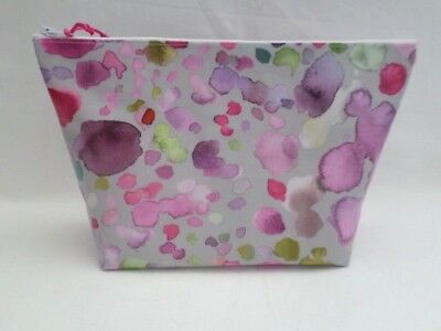 Handmade Large Oilcloth Make Up Toiletry Bag - Voyage Raspberry Sprinkles Fabric
