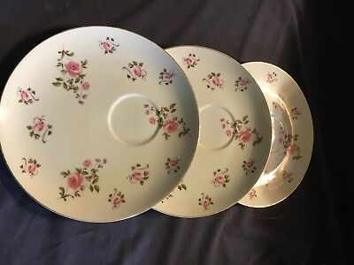 "Lot Of 3 Royal Geoffrey Vintage Fine China Snack Plates 9 1/2"". Japan"