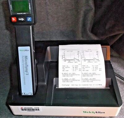 Welch Allyn MicroTymp 3 Tympanometer - New Mother Board - Calibrated - Printer
