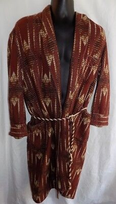 BRENT BEACON BLANKET INDIAN DESIGN WRAP ROBE belted 100% COTTON USA Men's L