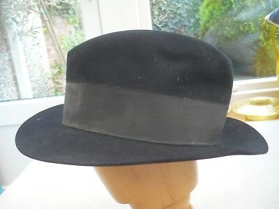 McQueen London Vintage all fur mens black fedora style hat lined TM GreatGothers