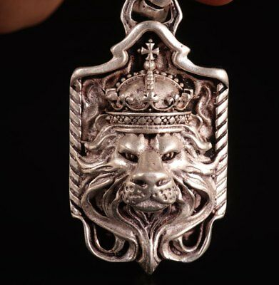 Tibetan Silver Carved Lion King Statue Pendant Exorcising Necklace Collection