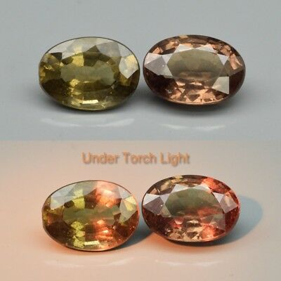 Pair 2pcs/1.11ct t.w Oval Natural Unheated Color Change Garnet, Africa
