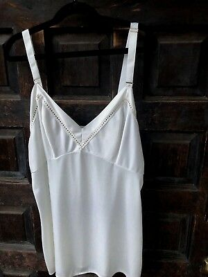 VTG Komar Off White Cream Camisole Tank Top Sz 34 Small Nylon Made in USA