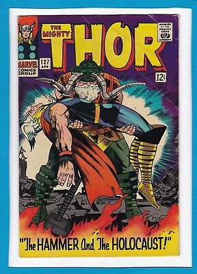 "Mighty Thor #127_April 1966_Fine+_Odin_""hammer & The Holocaust""_Silver Age!"