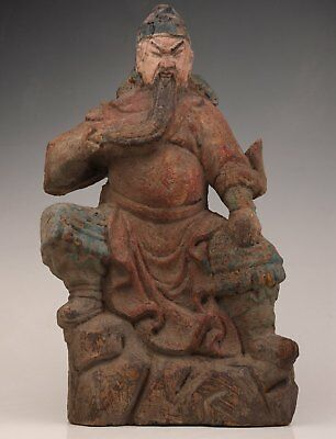Antique Chinese Wood Hand Guandi - Sword Statue Collection Rare Belief Old
