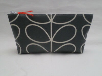 Handmade Oilcloth Make Up Bag Case - Cool Grey Linear Stem Fabric