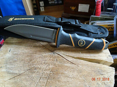 "BROWNING 10"" FIXED BLADE KNIFE BLACK AND ORANGE 7Cr17Mov S.S BLADE TITANIUM COAT"