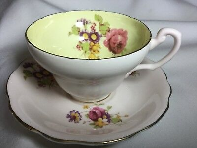 Eb Foley Bone China Cup And Saucer England     Pink/posies/yellow In Cup