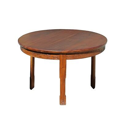 Chinese Oriental Large Brown Round 3 Legs Pedestal Dining Table cs4252
