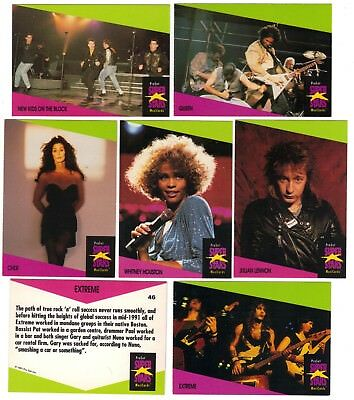 "6 x ProSet MusiCards ""Super Stars"" Trading Cards 1991 Queen, Whitney Houston"