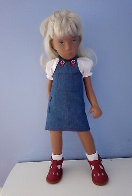BJB Vintage Sasha dolls clothes Blue denim dungaree skirt + white peasant blouse