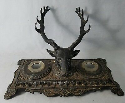 Vintage Bradley & Hubbard 6013 Stag Deer Cast Iron Double Inkwell NO Reserve