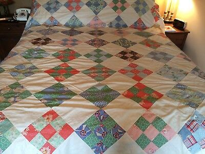 Vtg Fabric Patchwork Hand Stitched Cotton Quilt Top 9 Patch Pattern  #8