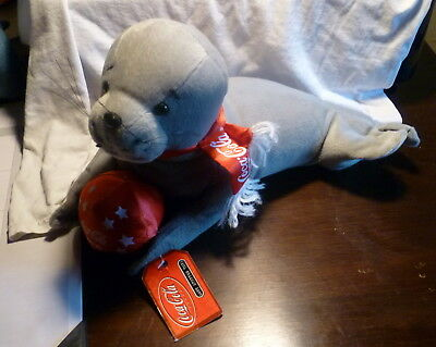 * Charming Coca Cola Plush Toy Seal With Ball Coke Advertising Collectible *