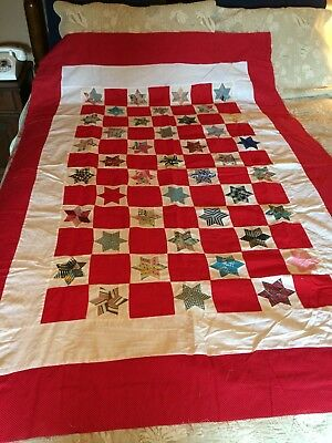 Vtg Fabric Patchwork Hand Stitched Star Cotton Quilt Top 65 x 47  #A