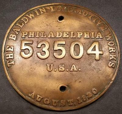 1920 - Builders Plate - Baldwin Locomotive Works - AT&SF Santa Fe - #53504 - EX+