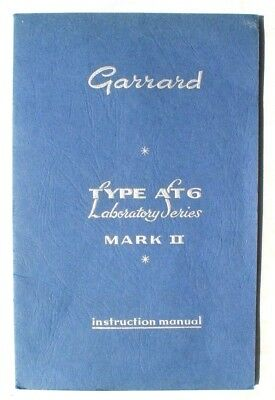 Vintage Original Garrard Type AT6 Mark II Operating Instruction Manual Booklet