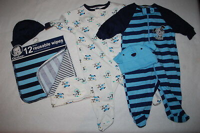 Boys BABY SHOWER LOT Reusable Wipes KNIT SLEEPERS Hats BLUE STRIPE Dogs NEWBORN