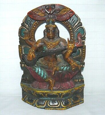 "Asian Wood Hand Carved Deity Wall Hanging 12"" X 8"" Decoration Shelf Sitter"