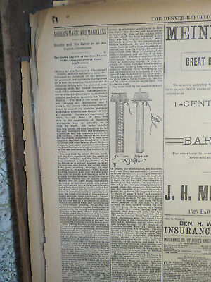 Magic Newspaper 1888 HOUDIN & HIS CAREER AUTOMATS CONSTRUCTOR  SECRET EXPOSED