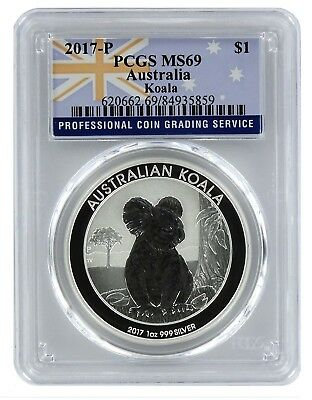 2017 P Australia 1oz Silver Koala PCGS MS69 - Flag Label