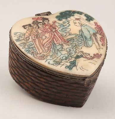 Vintage Cattle Bone Jewelry Box Old Painting Fairy China Collection