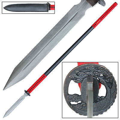 Traditional Japanese Straight Yari Damascus Steel Spear Collectible Replica