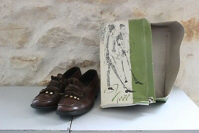 Antique pair of shoes man - Christmas Frères - Brown leather - Size 10
