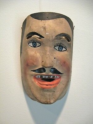 Mexican colonial mask, excellent condition, paint on wood, very good portrait