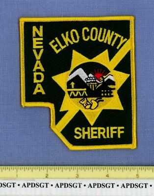ELKO COUNTY SHERIFF NEVADA Police Patch COUNTY SHAPE STATE SEAL