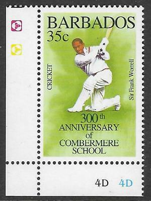BARBADOS 1995 350th Anniv COMBERMERE SCHOOL SIR FRANK WORRELL CRICKET 1v CORNER
