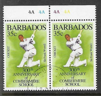 BARBADOS 1995 350th Anniv COMBERMERE SCHOOL SIR FRANK WORRELL 1v PAIR USED