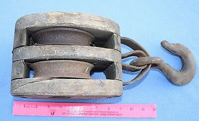 Antique/Vintage Primitive Double Pulley & Tackle Wood 4.5x1 MADESCO