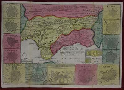 Andalusia Grenada Spain Gibraltar 1706 De La Feuille Antique Copper Engraved Map