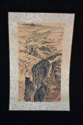 collectible China style Handwork hand printing mountains rare old art scrolls