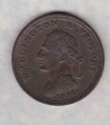 Wellington & Victory 1814/1816 Copper Token In A Well Used/Damaged Condition
