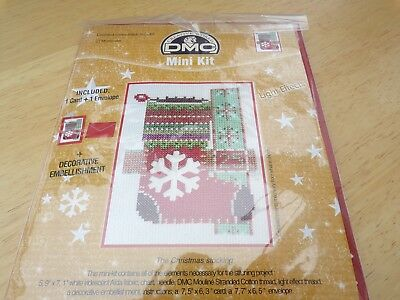 "**Large DMC ""The Christmas Stocking"" Card Cross Stitch Kit**"