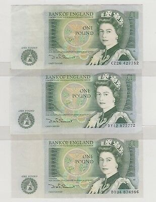 1981 £1 , 1 Pound  Bank Of England D H F Somerset  Note X3 Circulated
