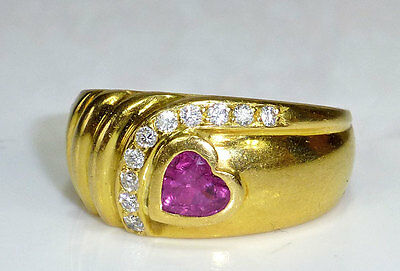 Ring 750 Gold Herz Rubin & Brillanten 750er Brillantring VERLOBUNG