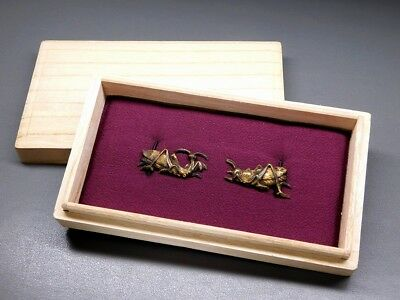 Rare motif Mantis & Grasshopper MENUKI 19thC Japanese Edo Antique for Koshirae